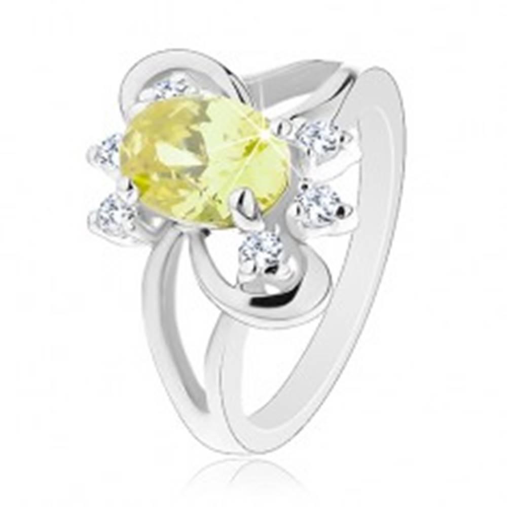Šperky eshop Prsteň s rozdelenými ramenami, žltozelený zirkónový ovál, číre zirkóniky - Veľkosť: 49 mm