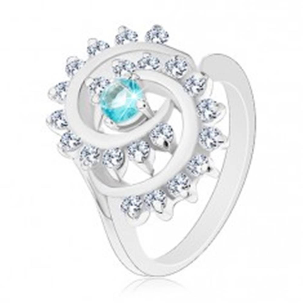 Šperky eshop Prsteň so zúženými ramenami, okrúhly zirkón vo svetlomodrej farbe, špirála - Veľkosť: 52 mm