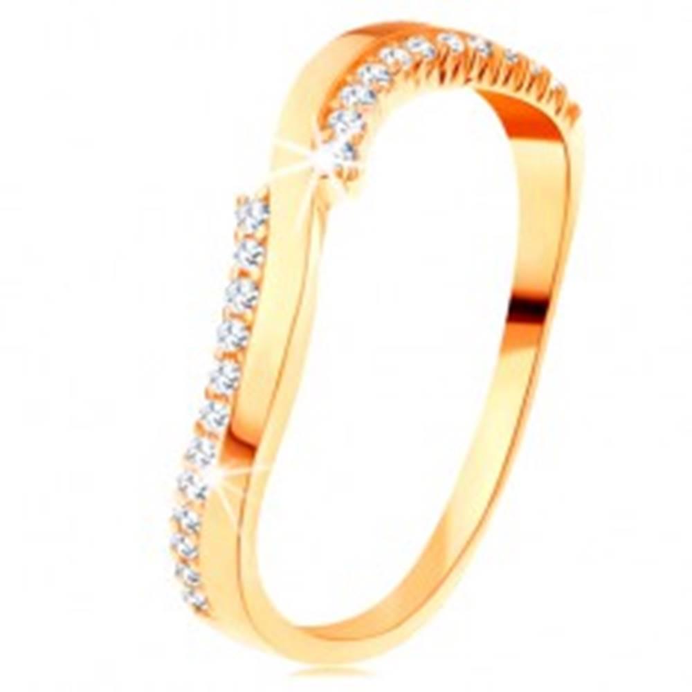 Šperky eshop Prsteň v žltom 14K zlate - jedna hladká a dve zirkónové vlnky - Veľkosť: 49 mm