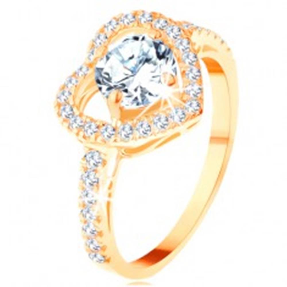 Šperky eshop Prsteň v žltom 14K zlate - veľký ligotavý obrys srdca s okrúhlym zirkónom - Veľkosť: 49 mm