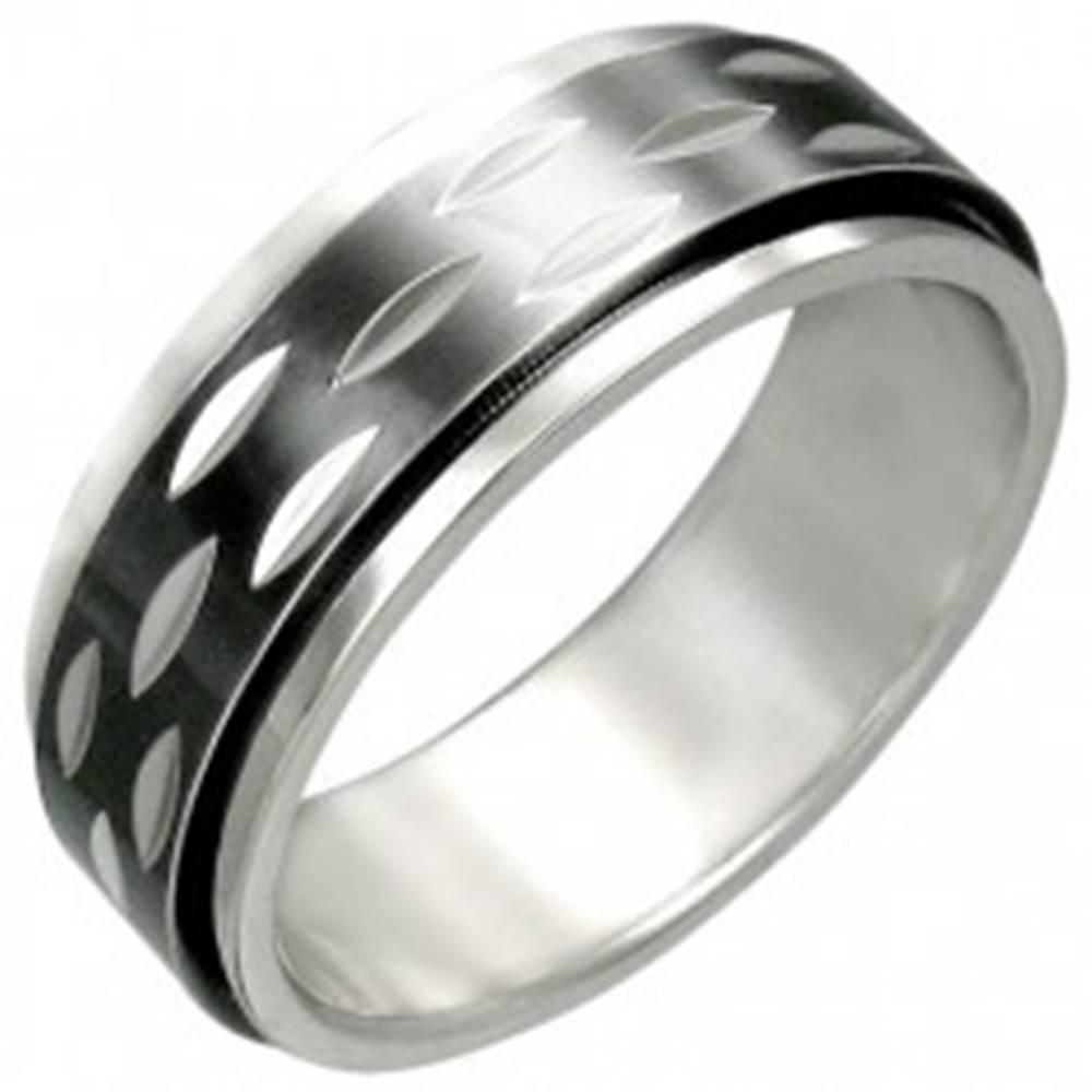Šperky eshop Prsteň z ocele s pohyblivým čiernym prstencom - Veľkosť: 54 mm