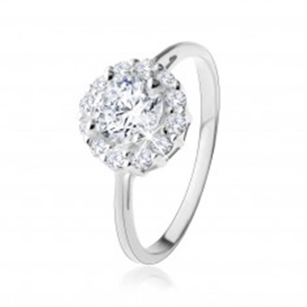 Šperky eshop Prsteň zo striebra 925 - okrúhly zirkón čírej farby s trblietavou kontúrou - Veľkosť: 49 mm