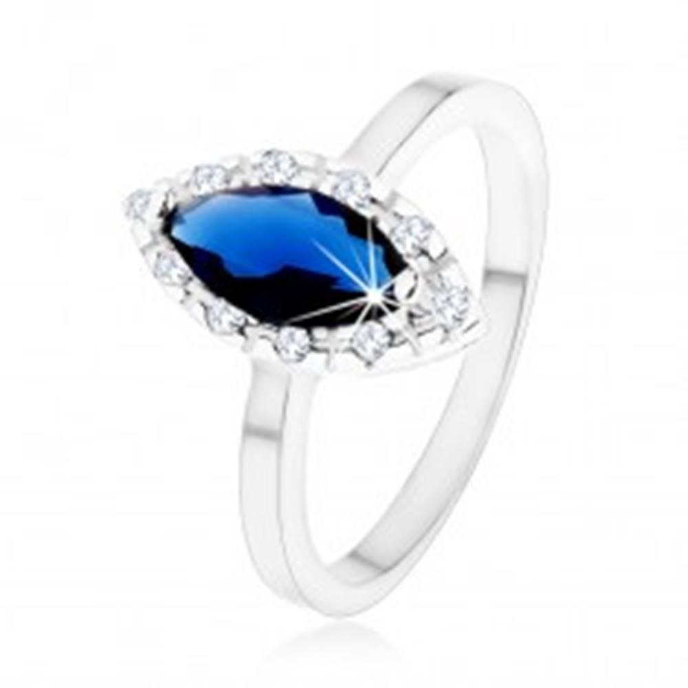 Šperky eshop Prsteň zo striebra 925 - tmavomodré zirkónové zrnko, číra kontúra - Veľkosť: 49 mm