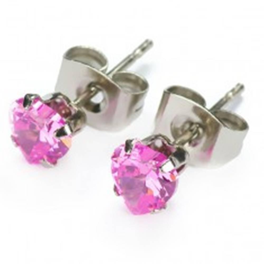 Šperky eshop Puzetové náušnice - ružové zirkónové srdiečka - Veľkosť zirkónu: 4mm