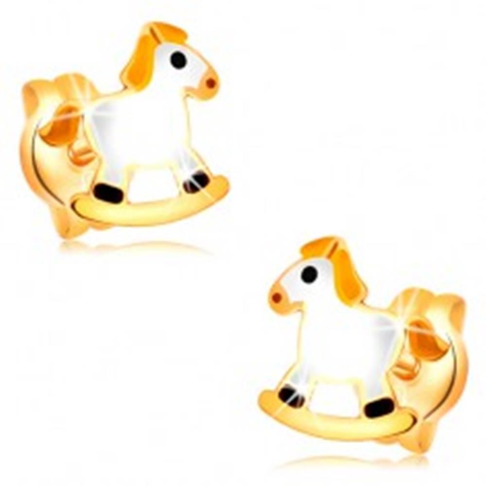 Šperky eshop Puzetové náušnice v žltom zlate 14K - biely hojdací koník so žltou hrivou