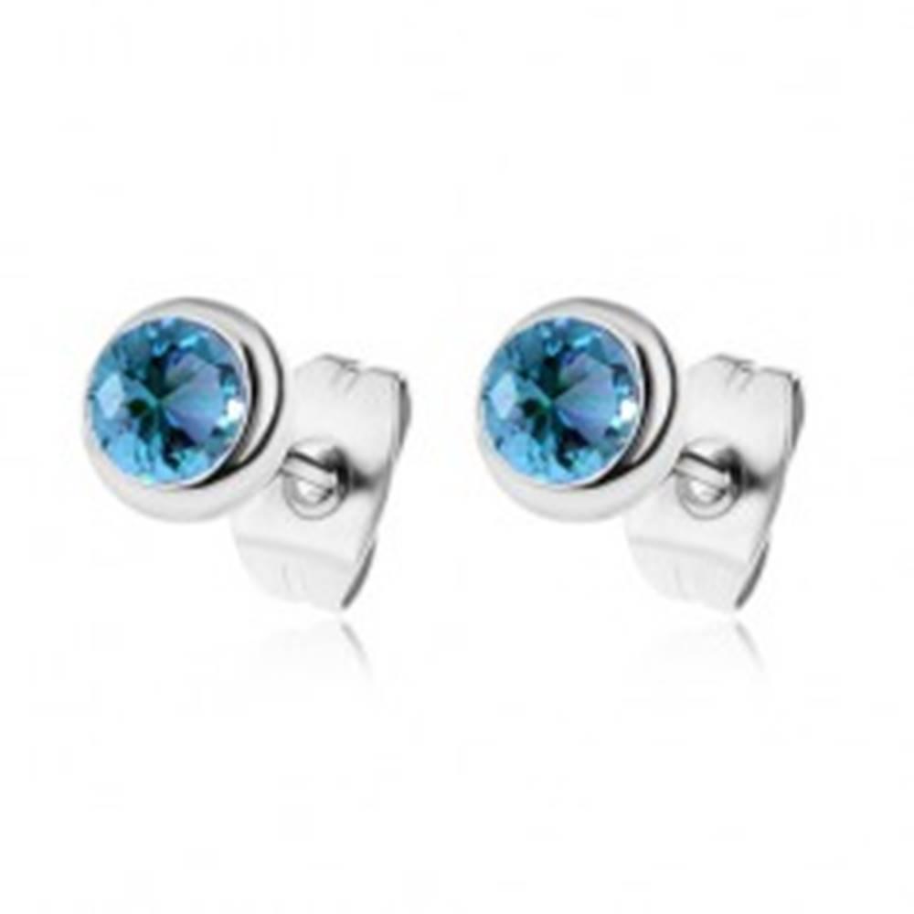 Šperky eshop Puzetové náušnice z ocele 316L s modrými zirkónmi