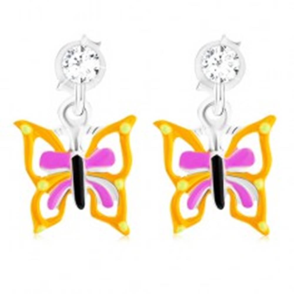 Šperky eshop Puzetové náušnice zo striebra 925, motýľ so žlto-fialovými krídlami, glazúra