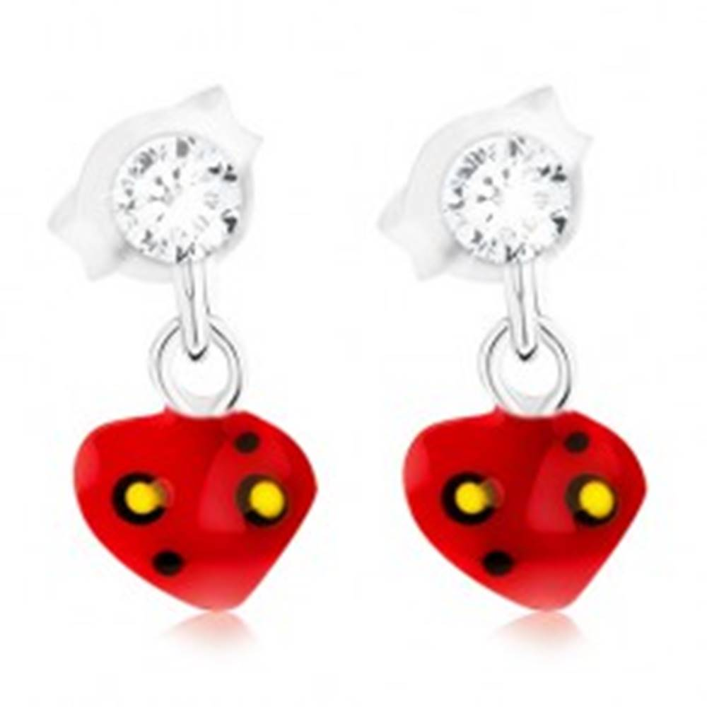 Šperky eshop Puzetové strieborné 925 náušnice s červeným bodkovaným srdiečkom, krištáľ