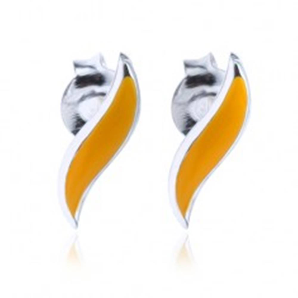 Šperky eshop Puzetové strieborné náušnice 925 - oranžovožltá vlnka