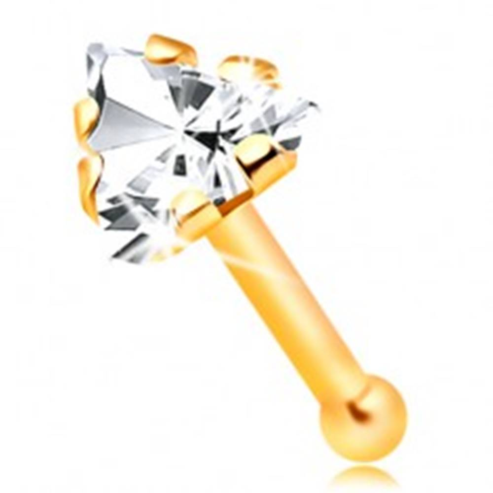 Šperky eshop Rovný zlatý 14K piercing do nosa - zirkónový trojuholník čírej farby
