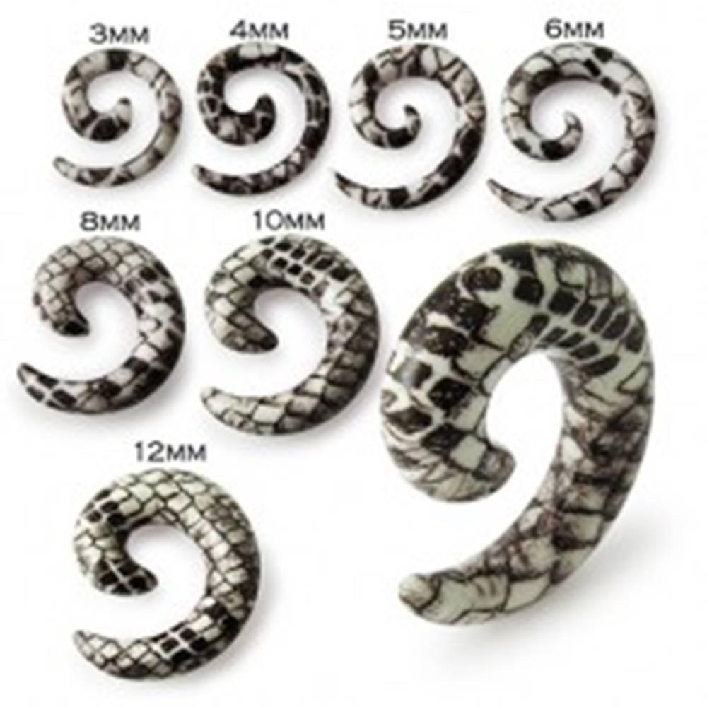Šperky eshop Slimák do ucha - bielohnedý expander s hadím motívom - Hrúbka: 10 mm