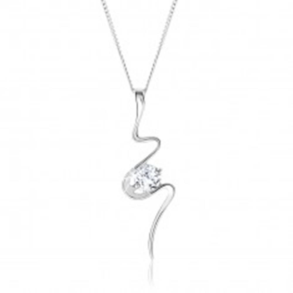 Šperky eshop Strieborný 925 náhrdelník, asymetricky vlniaca sa stuha, číry zirkón