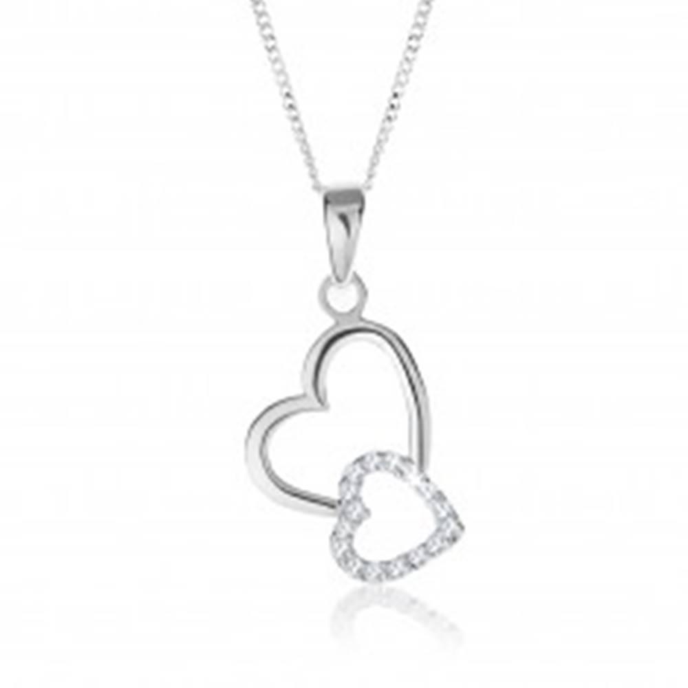 Šperky eshop Strieborný 925 náhrdelník, dve prepojené kontúry sŕdc, nastaviteľný