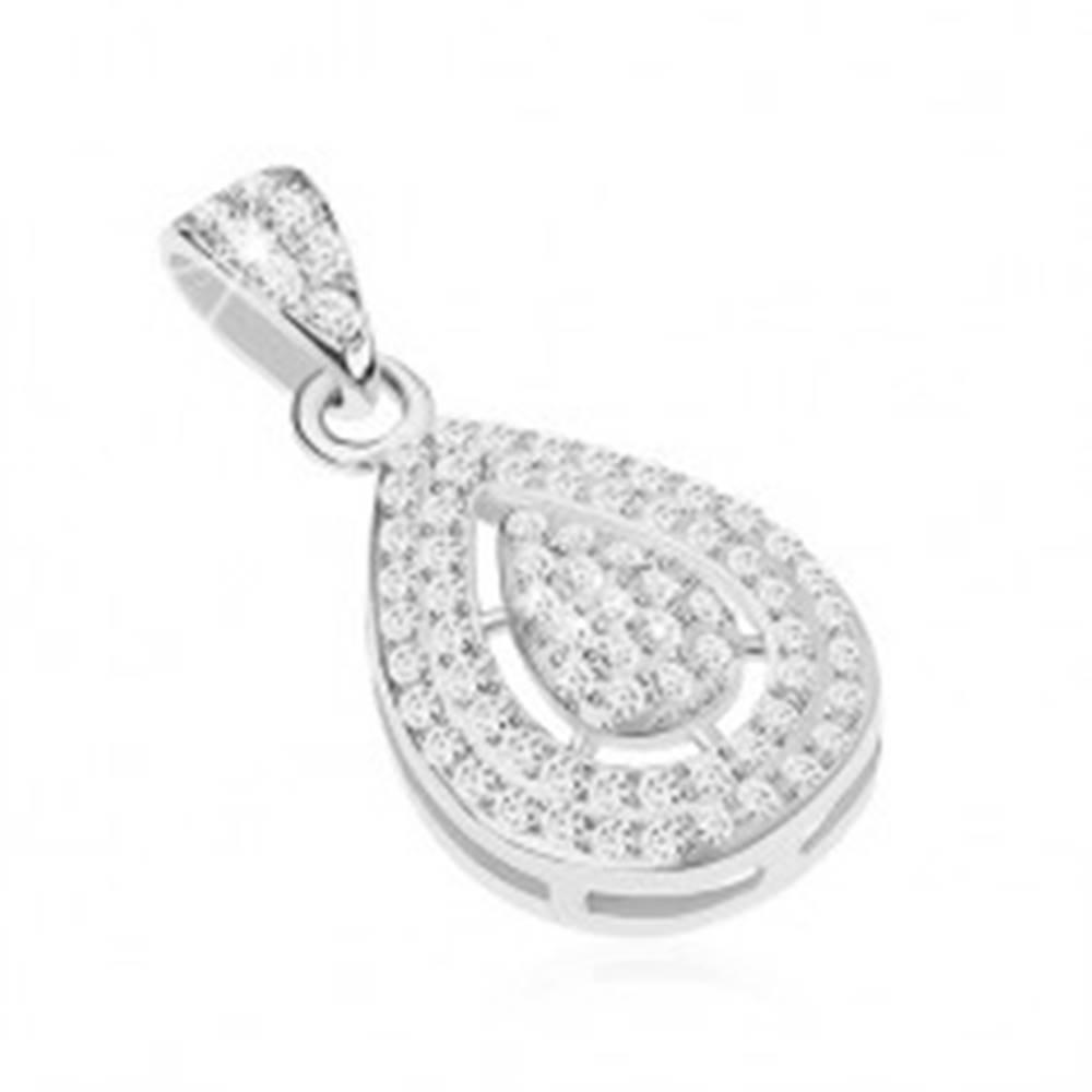 Šperky eshop Strieborný 925 prívesok zdobený čírymi zirkónikmi, kvapka v výrezom