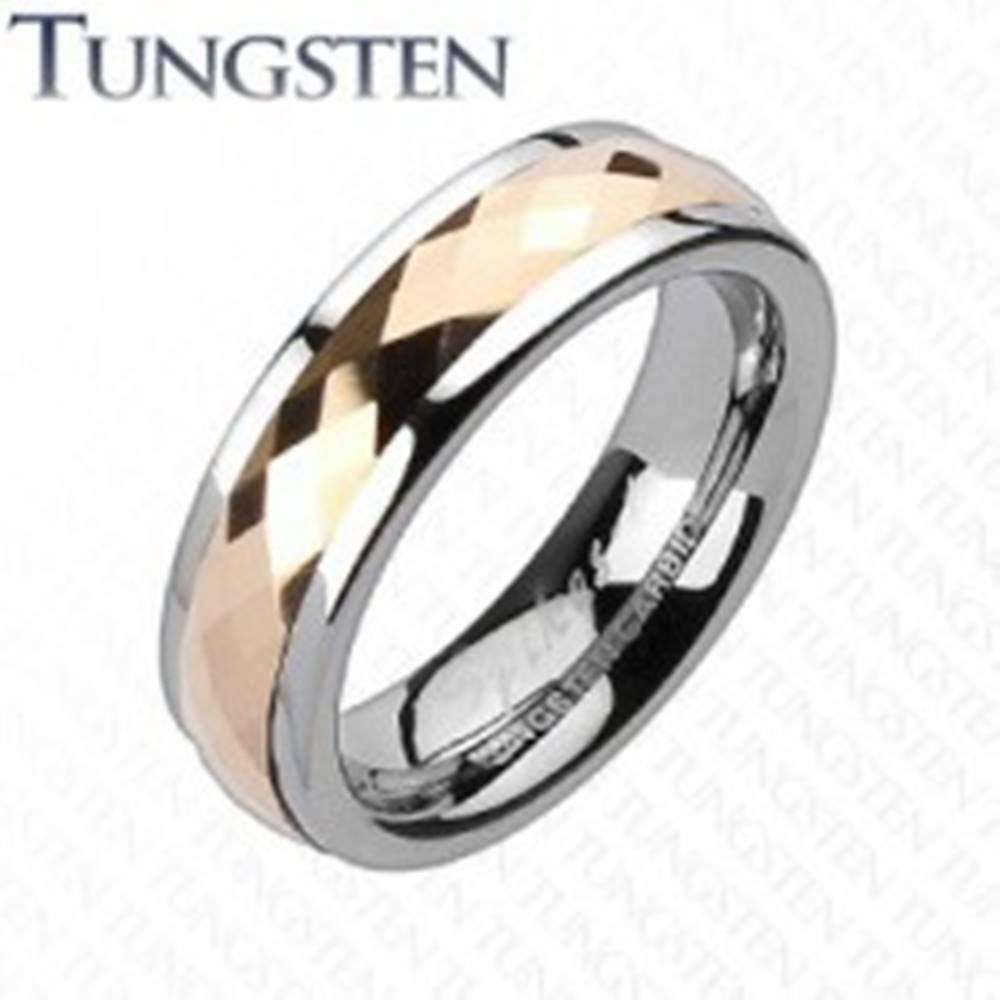 Šperky eshop Tungstenová obrúčka - otáčavý stredový pás ružovozlatej farby - Veľkosť: 49 mm