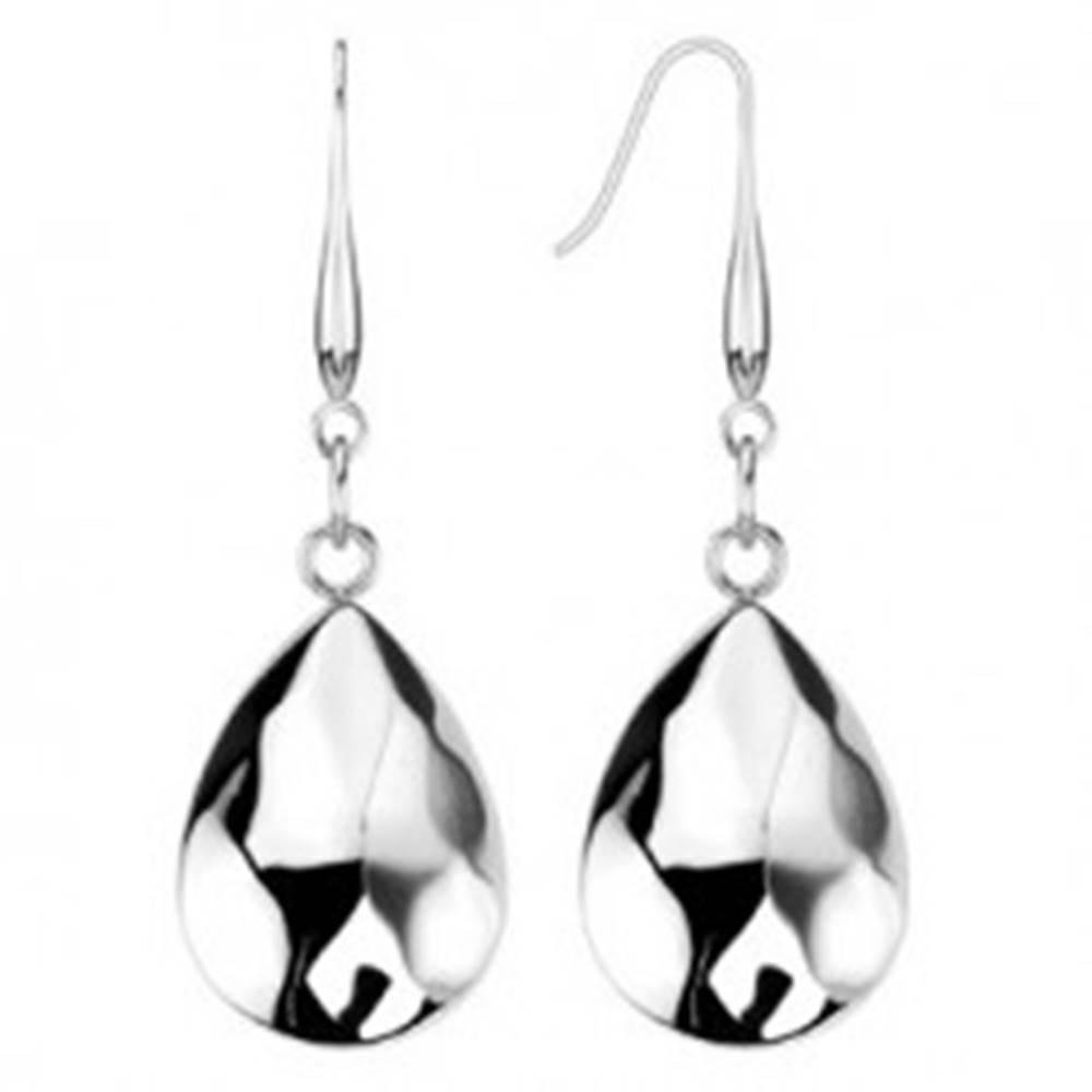 Šperky eshop Visiace náušnice - oceľové slzy s vypuklým brúseným povrchom