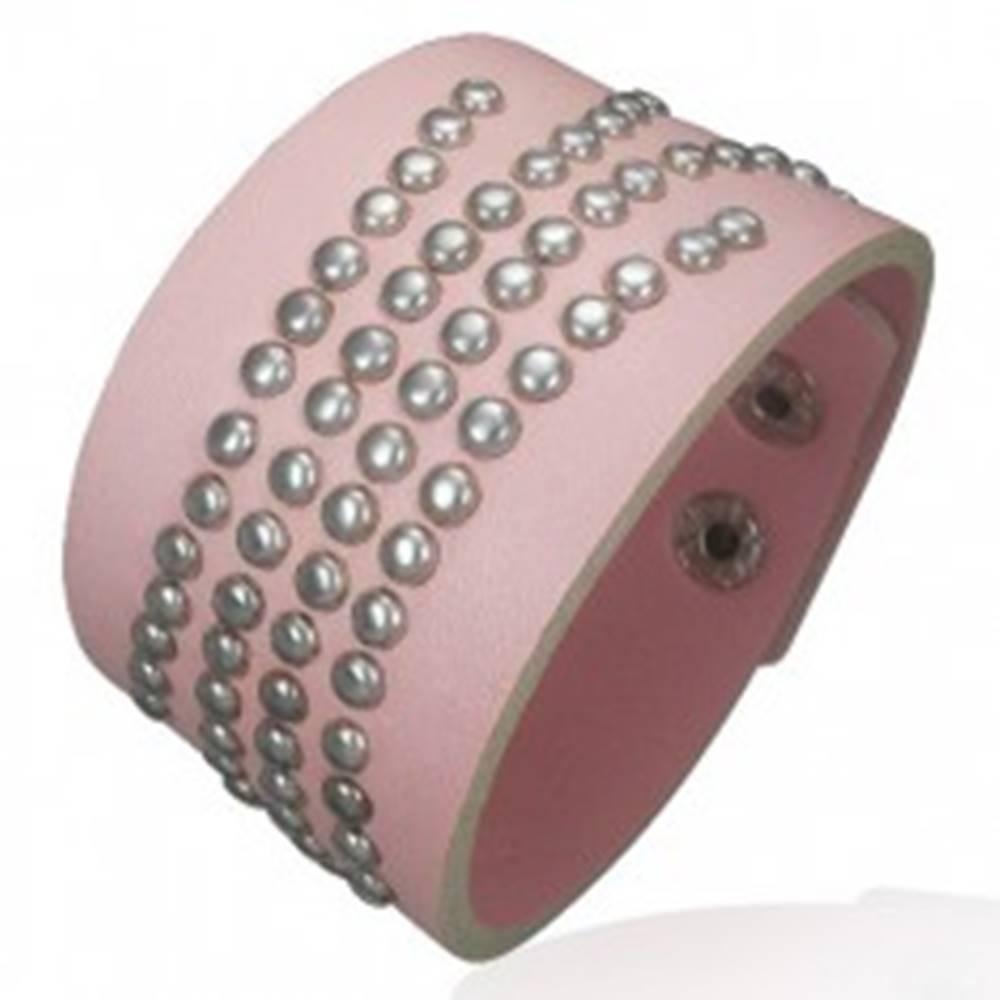 Šperky eshop Vybíjaný ružový náramok z umelej kože