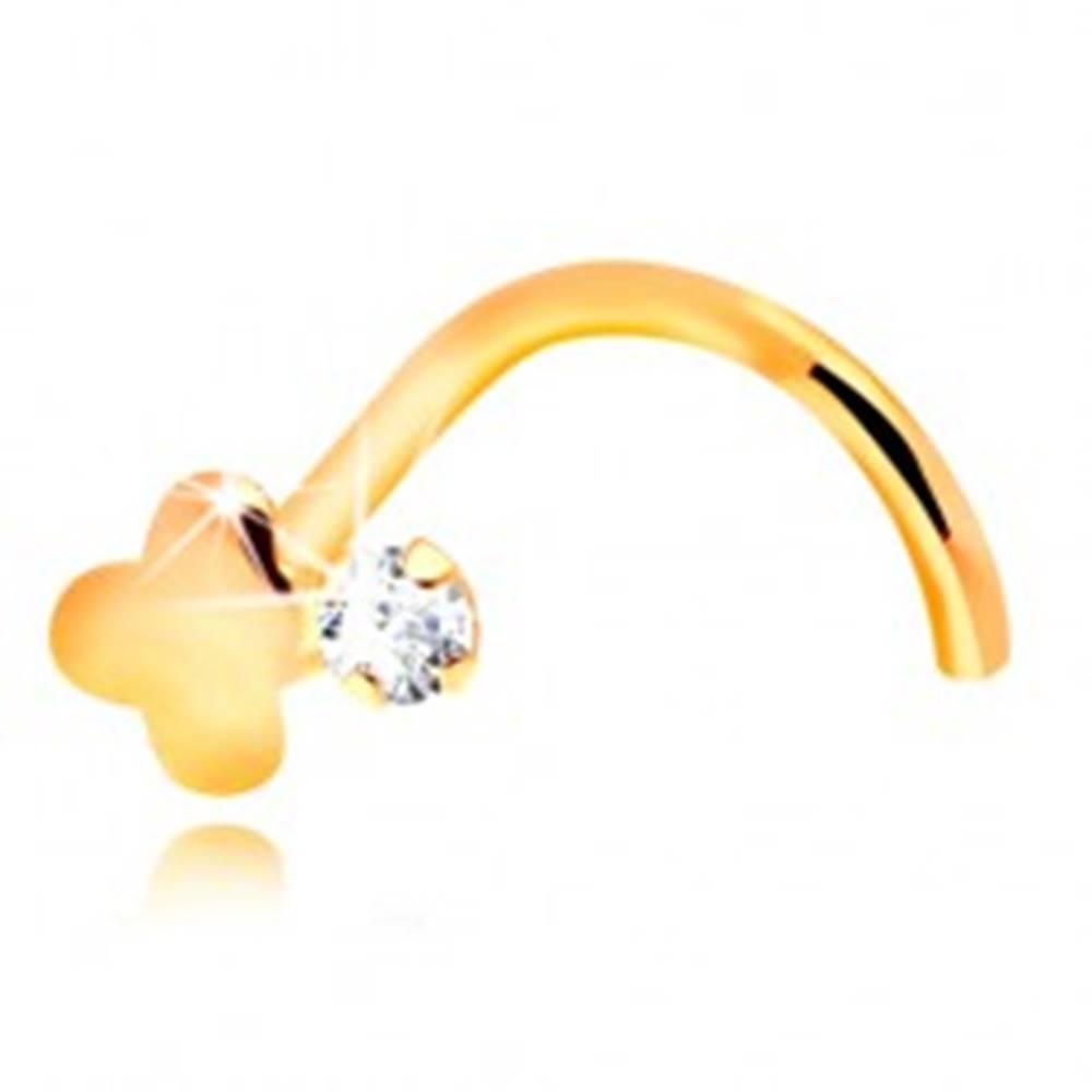 Šperky eshop Zahnutý piercing do nosa, žlté 14K zlato, číry zirkón a lesklý krížik