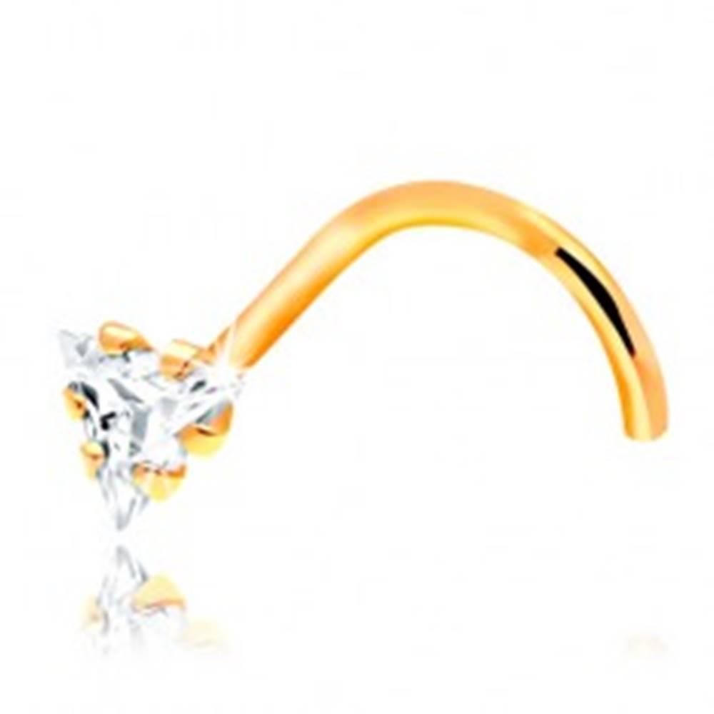 Šperky eshop Zahnutý piercing do nosa - žlté 14K zlato, číry zirkónový trojuholník