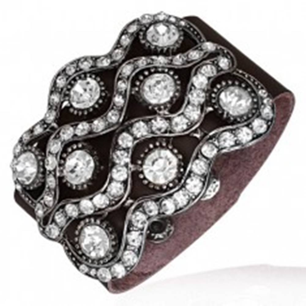 Šperky eshop Žiarivý náramok - osem veľkých zirkónov a zirkónové vlnky