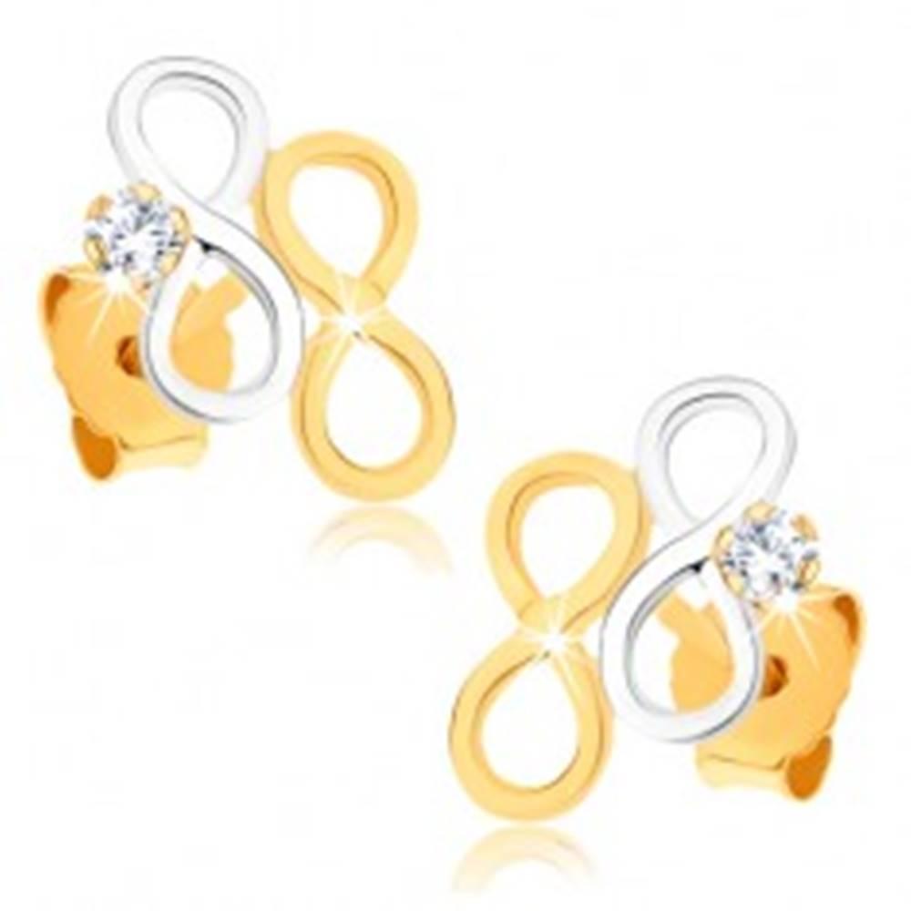 Šperky eshop Zlaté náušnice 375 - dvojfarebné symboly nekonečna, číry zirkónik
