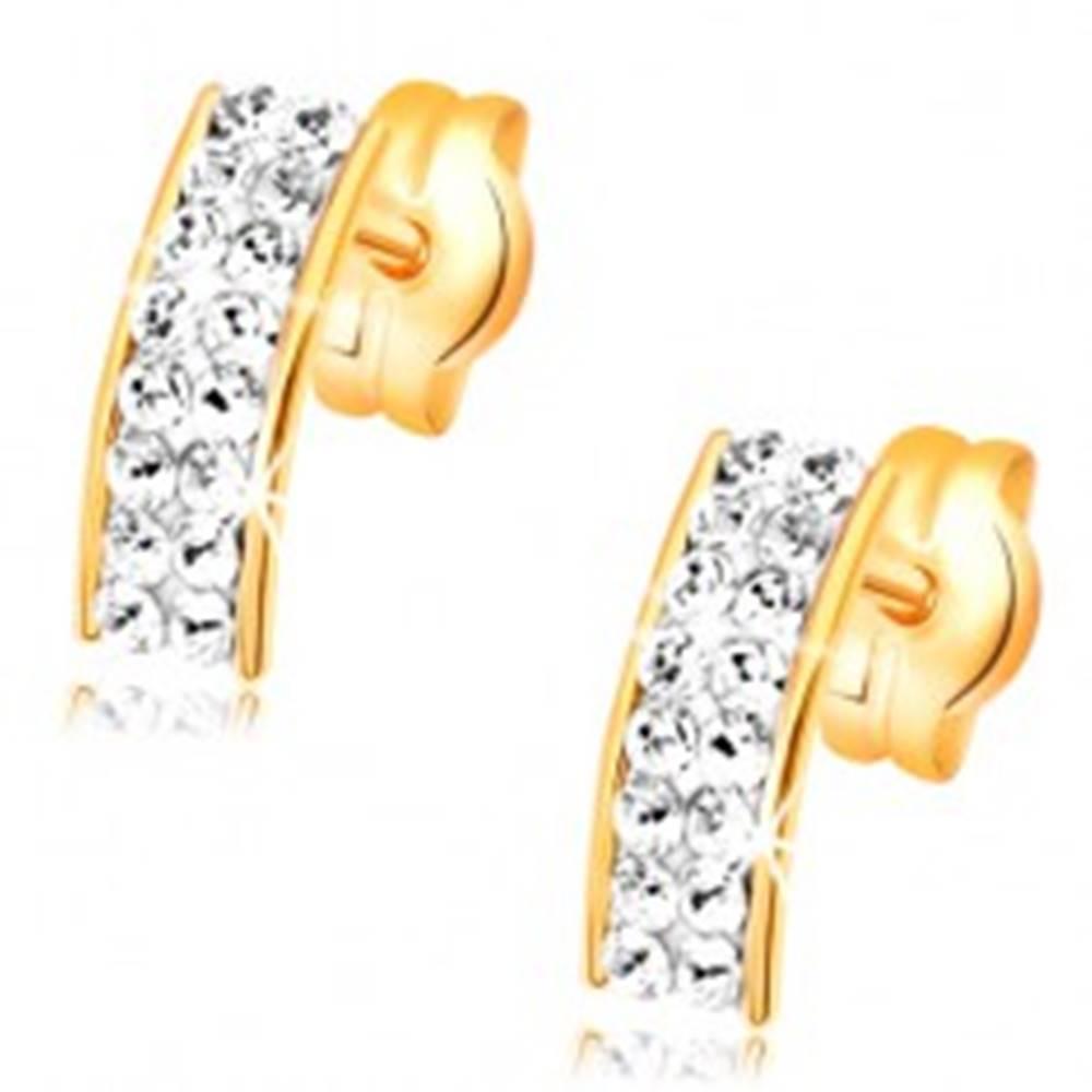 Šperky eshop Zlaté náušnice 585 - číry oblúk zo Swarovski krištáľov, lesklé okraje