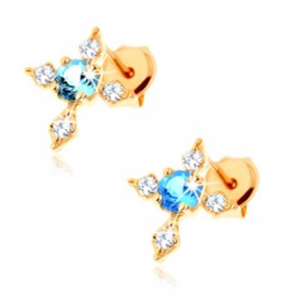 Šperky eshop Zlaté puzetové náušnice 375 - kríž so zirkónovými ramenami, modrý topás