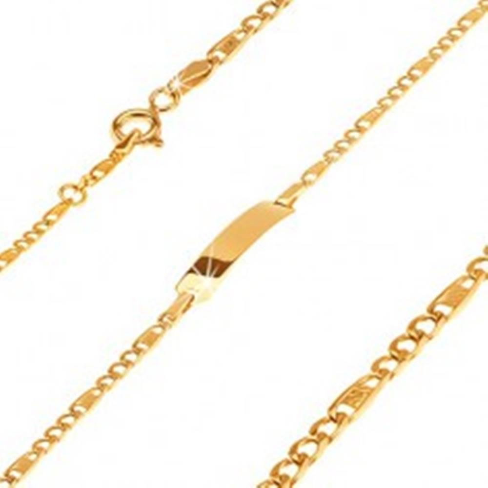 Šperky eshop Zlatý náramok 585 - platnička, tri očká a článok s mriežkou, 160 mm