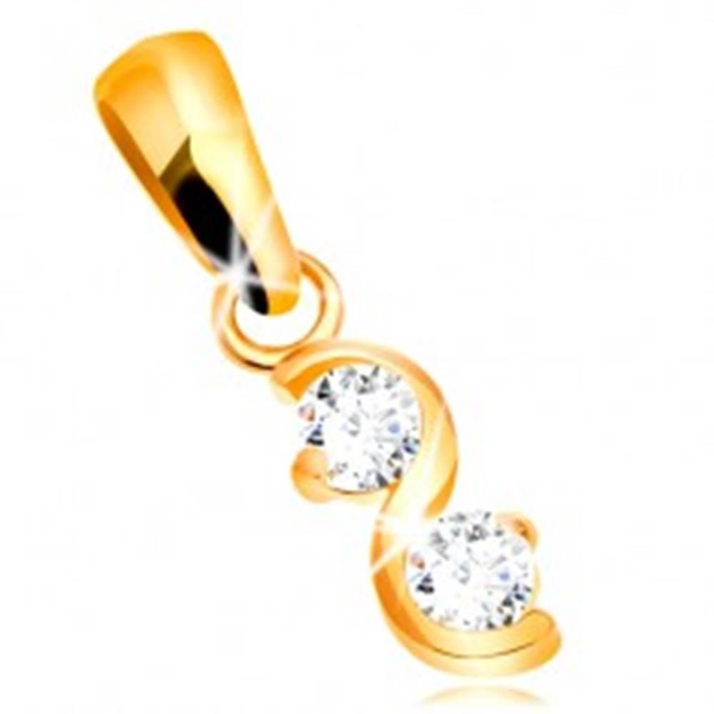 Šperky eshop Zlatý prívesok 585 - lesklá hladká vlnka, dva číre ligotavé zirkóny
