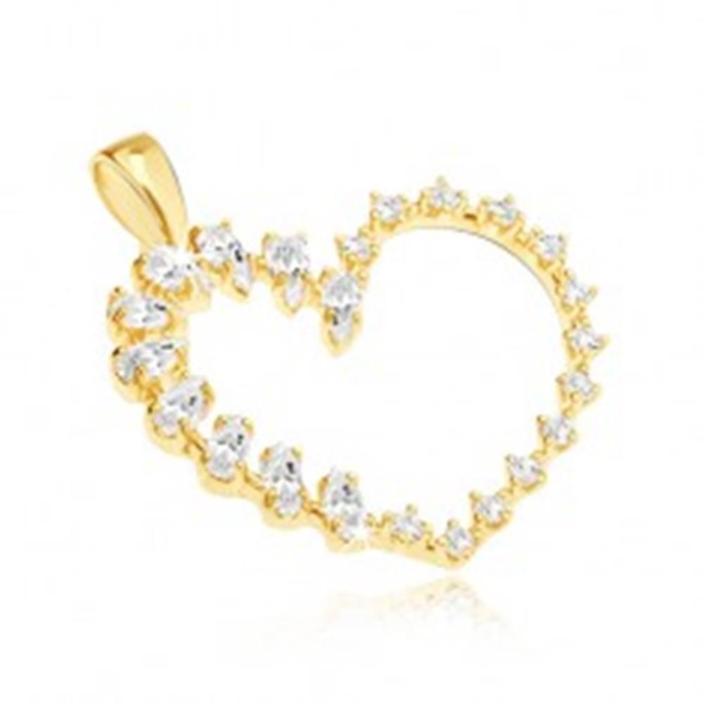 Šperky eshop Zlatý prívesok - veľké srdce, slzičkové a okrúhle zirkóny v jednej línii