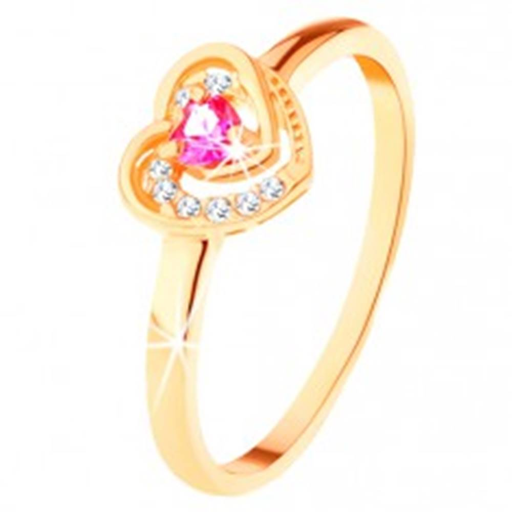 Šperky eshop Zlatý prsteň 585 - ružové zirkónové srdiečko v dvojitom obryse - Veľkosť: 49 mm
