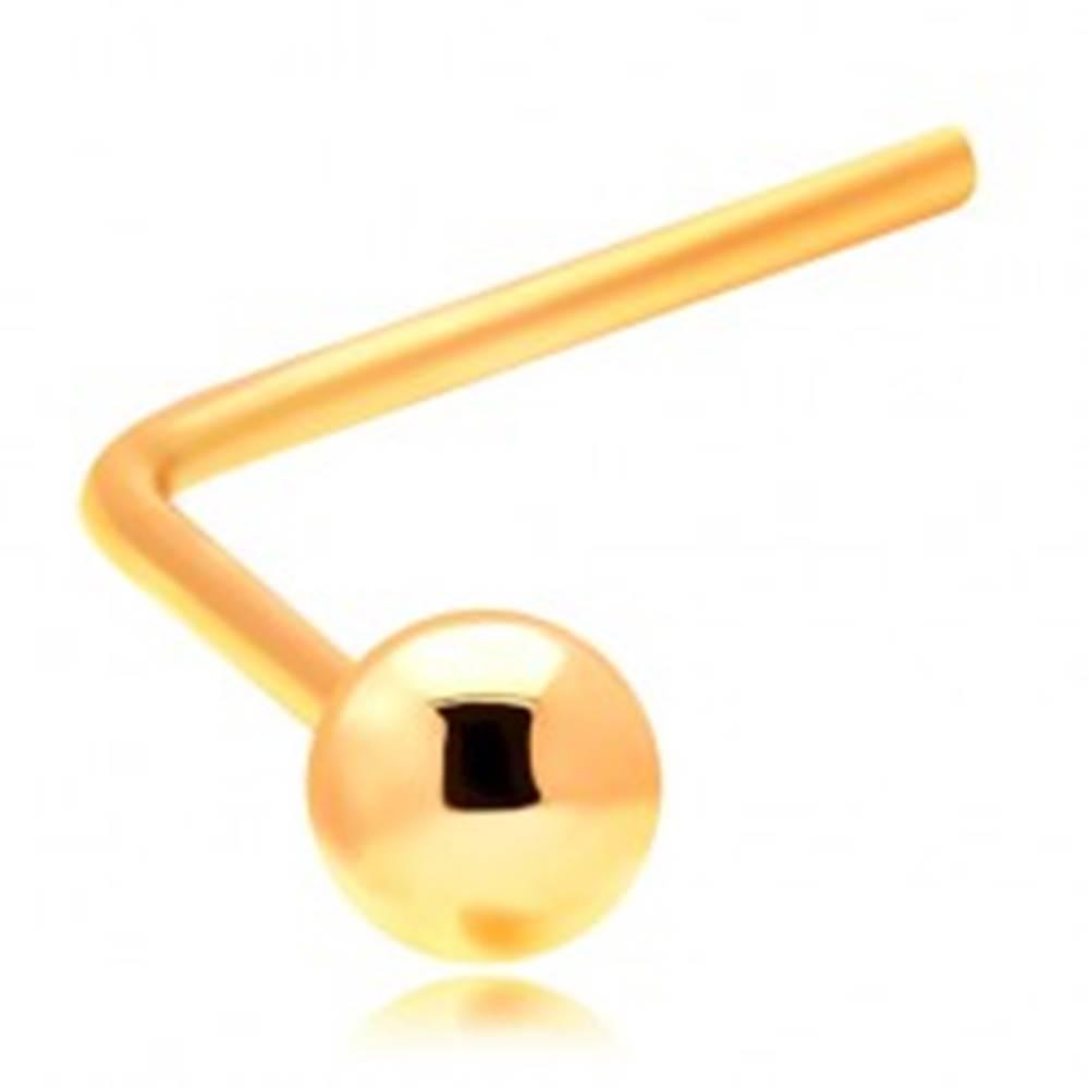 Šperky eshop Zlatý zahnutý piercing do nosa 585 - malá lesklá guľôčka