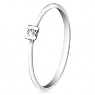 Briliantový prsteň z bieleho zlata 585 - trblietavý číry diamant uchytený paličkami - Veľkosť: 49 mm