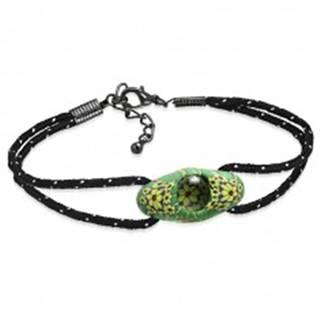 Čierny šnúrkový náramok, zelená oválna FIMO korálka, žlté kvety - Dĺžka: 180 mm