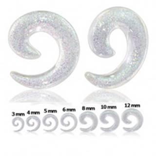 Číry expander do ucha - slimák s trblietkami - Hrúbka: 10 mm