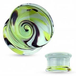 Číry plug do ucha z pyrexového skla, motív víru žltej, čiernej a bielej farby - Hrúbka: 10 mm
