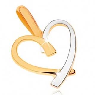 Dvojfarebný prívesok v 9K zlate - kontúra nepravidelného srdca