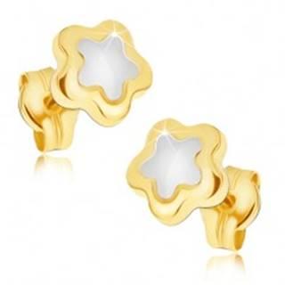 Lesklé náušnice zo zlata 14K - päťlupeňový dvojfarebný kvietok