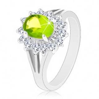 Ligotavý prsteň s rozdelenými ramenami, zirkónový ovál v zelenej farbe - Veľkosť: 50 mm