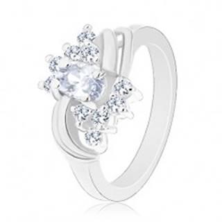 Ligotavý prsteň v striebornej farbe a s čírymi zirkónmi, hladké páry oblúkov - Veľkosť: 49 mm