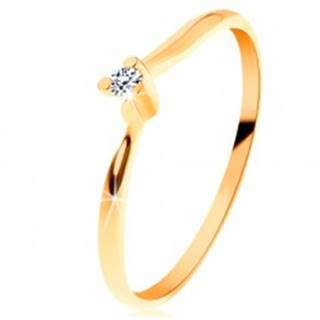 Ligotavý prsteň zo žltého 14K zlata - číry brúsený diamant, tenké ramená - Veľkosť: 49 mm