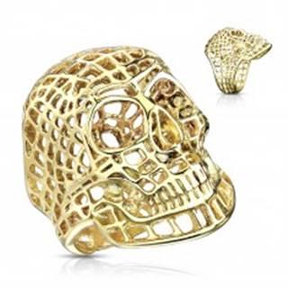 Mohutný prsteň z ocele 316L, lesklá zlatá farba, sieťovaná lebka - Veľkosť: 58 mm