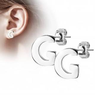 Náušnice z chirurgickej ocele - veľké tlačené písmenko G, strieborná farba