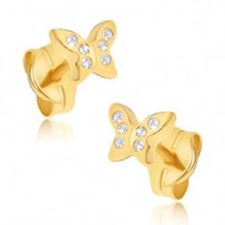 Náušnice zo žltého 14K zlata - maličké zirkónové motýle