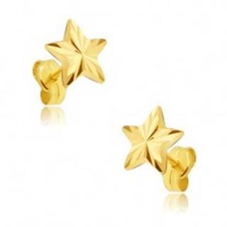 Náušnice zo žltého 14K zlata - päťcípa ligotavá hviezda, lúčovité ryhy