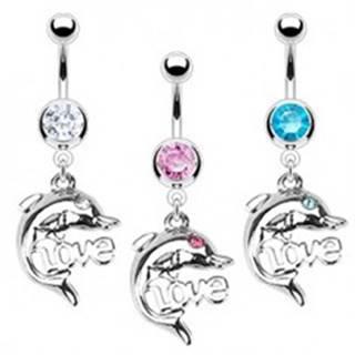 Oceľový piercing do pupka - delfín, LOVE - Farba zirkónu: Aqua modrá - Q