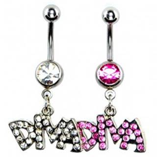 Oceľový piercing do pupku - nápis DIVA - Farba: Číra