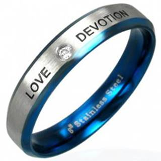Oceľový prsteň LOVE DEVOTION so zirkónom - Veľkosť: 49 mm