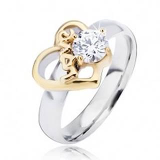 Oceľový prsteň s obrysom srdca zlatej farby a čírym zirkónom, Love - Veľkosť: 49 mm