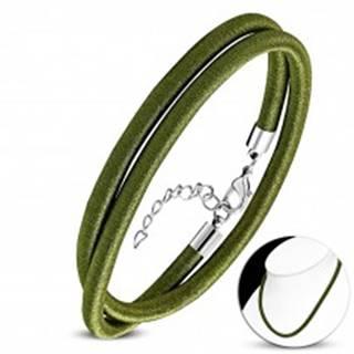 Olivový náhrdelník obtočený lesklou niťou, nastaviteľná dĺžka, karabínka
